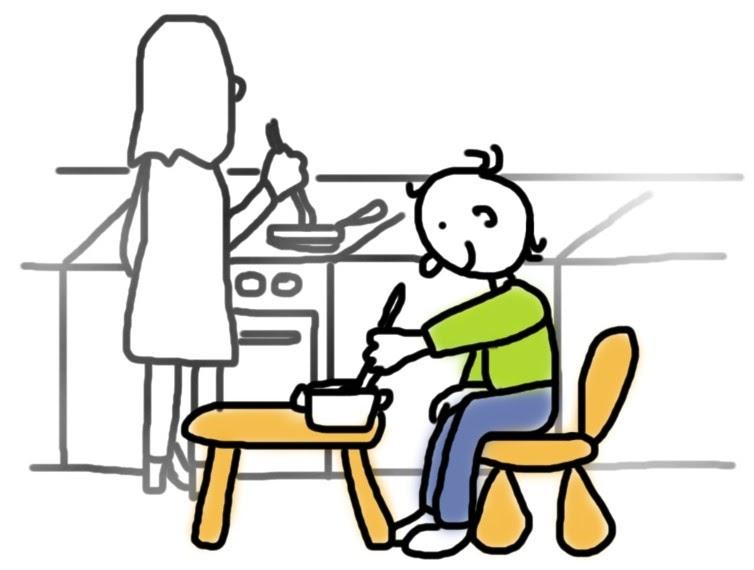 Kind kocht selbstständig