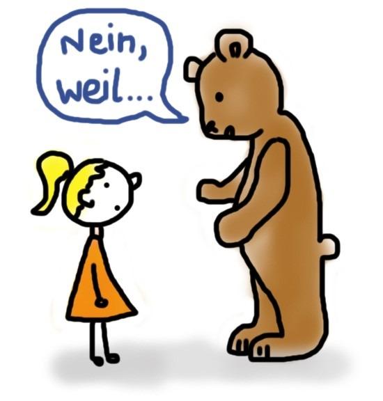 Bär erklärt Mädchen, warum er nein sagt